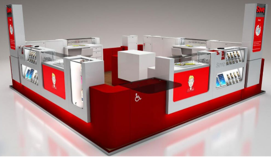 The design of the cell phone kiosk