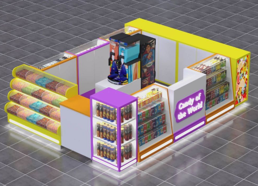Layout of the candy kiosk