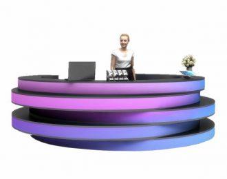 Unique reception counter with gradient color round shape desk