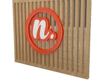 Unique Acrylic Brand Sign Wood Wall for Coffee Shop
