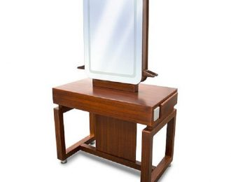 Wood Double Sided Hair Salon Shop Station with mirror