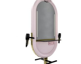 Pink Oval Double Sided Styling Station in Hair Cutting Shop